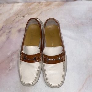 Cole Haan white & brown size 8 loafers
